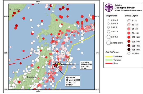 Great Tohoku Earthquake Northeast Honshu Japan Magnitude - Japan 2011 map