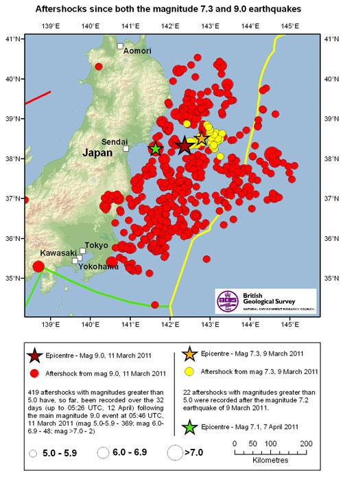 Aftershocks Great Tohoku Earthquake March - Japan earthquake zone map