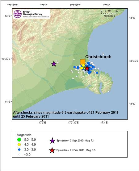 Aftershocks since magnitude 6.3 earthquake of 21 february 2011 until 25 February 2011
