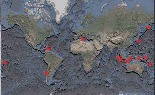 Figure 4. Locations of some recent major tsunami. © Hannah Evans.