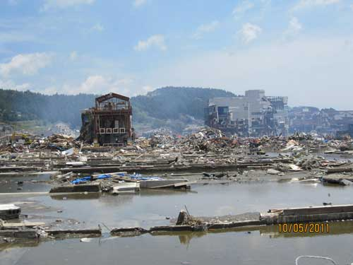 Figure 5. Minamisanriku in May 2011. Major clearing of debris taking place.