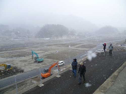 Figure 9. Onagawa, destroyed by the tsunami, with snow falling. © Hannah Evans